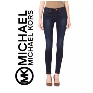 Michael Kors Skinny Ankle Jeans Mid Rise Dark Wash
